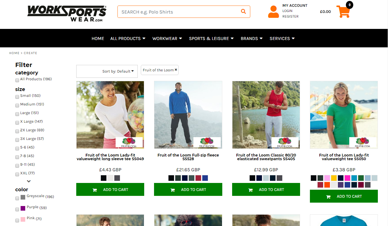 Ecommerce website for Work Sports Wear