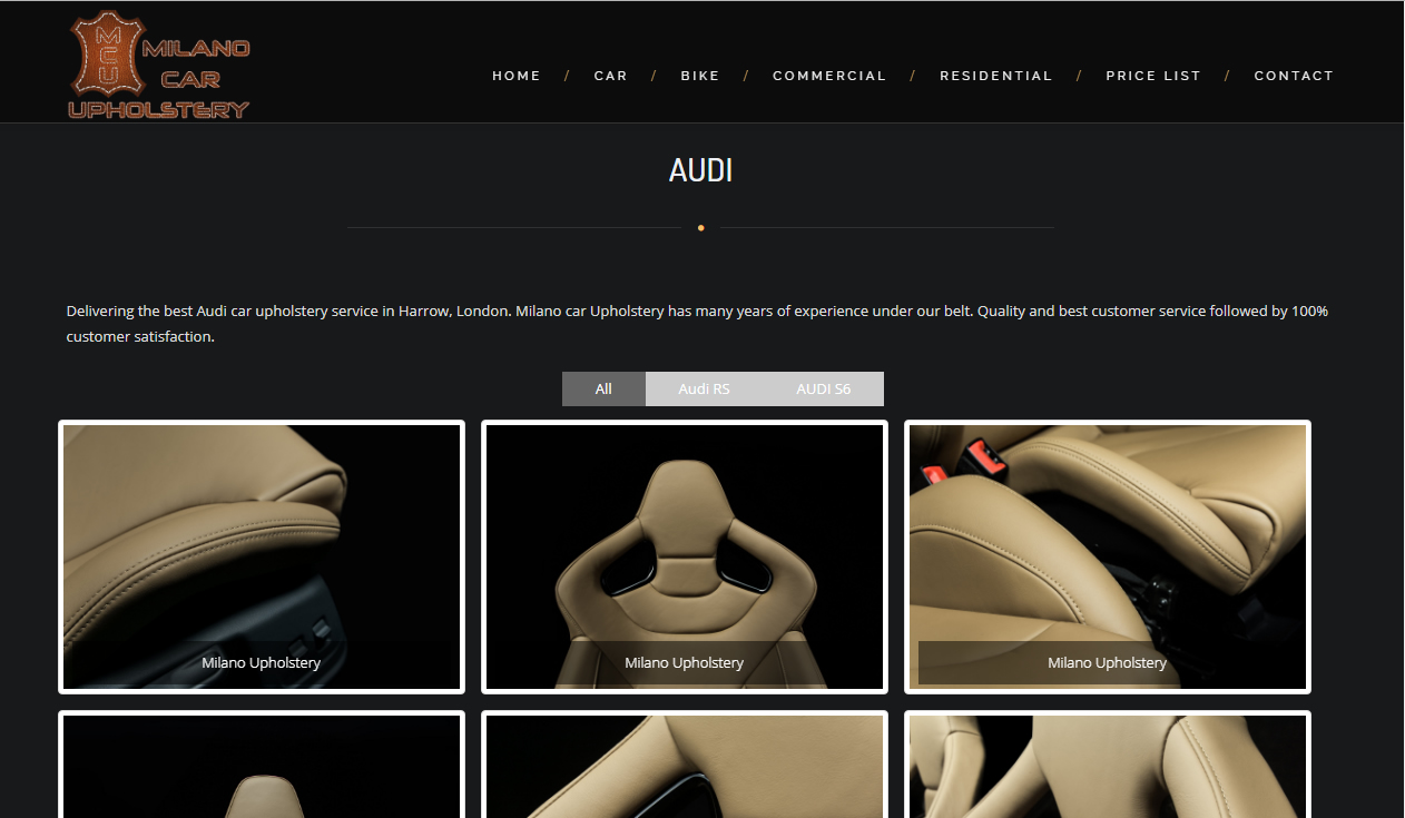 CMS Website for Milano Car Upholstery