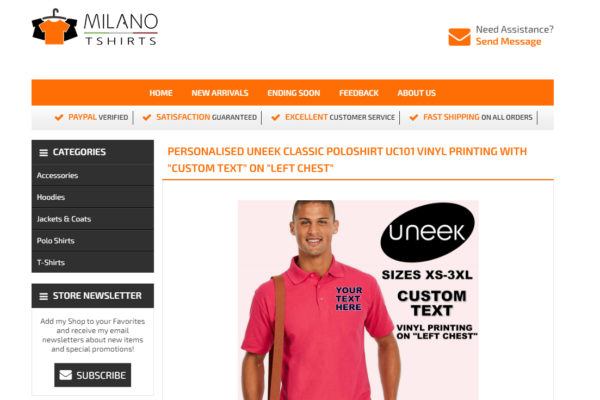 Ebay listing template for Milano T-Shirts