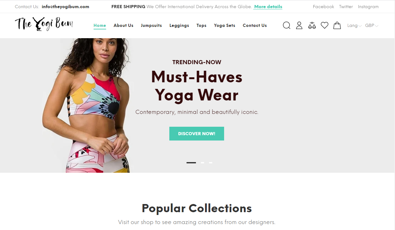 Ecommerce website for The Yogi Bum